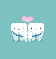 love family of dental tooth and teeth concept vector image