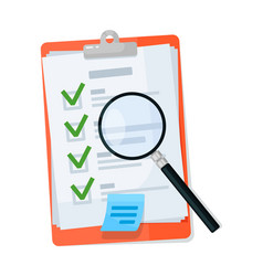 Magnifying glass on checklist clipboard isolated vector