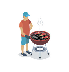 Man cooking at grill vector