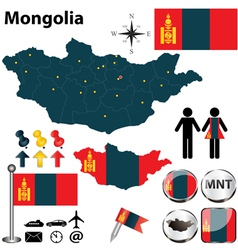 Map of Mongolia vector