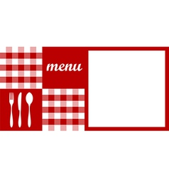 menu design red tablecloth cutlery and white vector image