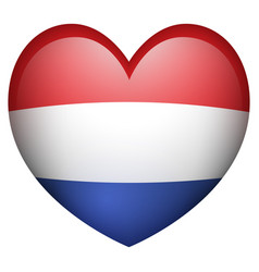 netherland flag in heart shape vector image