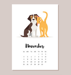november dog 2018 year calendar vector image