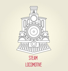 Old steam locomotive front view - vintage train vector