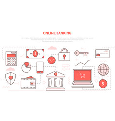 Online banking concept with laptop and online vector