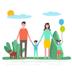 parents with children and pet in summer forest vector image