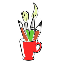 pencils and brushes in red cup on white vector image