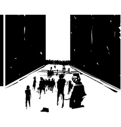 People passing through a wall vector