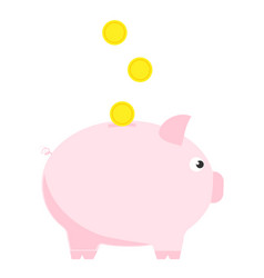 Pink piggy bank with three coins symbol deposit vector