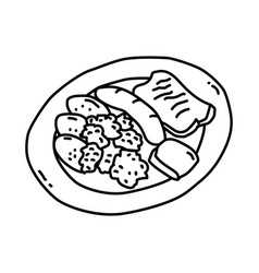 pinkel mit grunkohl icon doodle hand drawn vector image