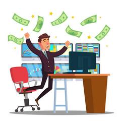 Professional trader online working trader vector