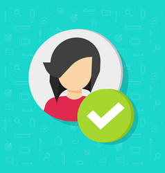 profile with checkmark icon flat woman vector image