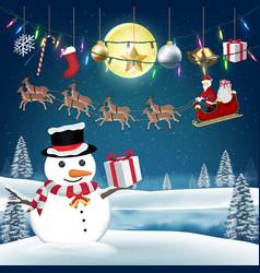santa claus give gift box to snow man on christmas vector image