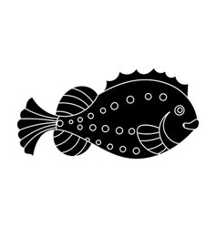 sea fish icon in black style isolated on white vector image