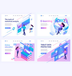 Set isometric landing pages on topic onlin vector