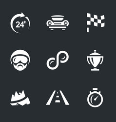 set of 24 hours race icons vector image