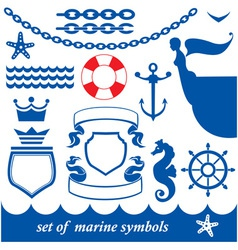 Set of marine elements - chain anchor crown vector image