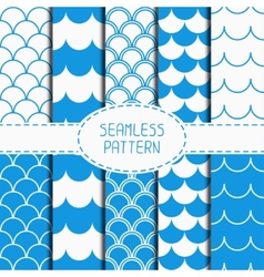 Set of seamless retro vintage blue marine vector