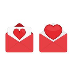 set pink valentine romantic envelopes vector image