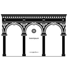 Silhouette of arched classical facade vector