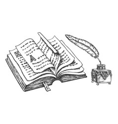 sketch opened book with ink and feather vector image