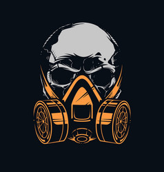 Skull with respirator on black background vector