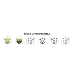 Smiling with horns emoji icon in filled thin line vector