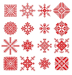 snowflake in embroidery russian style vector image