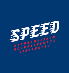 Speed style retro font design alphabet letters vector