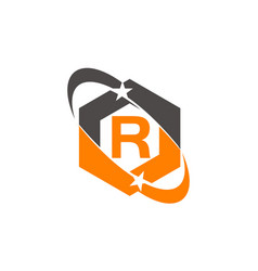 Star swoosh letter r vector