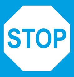 Stop sign icon white vector