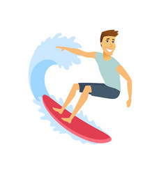 Surfer riding the wave - cartoon people character vector