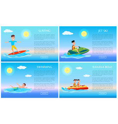 surfing and swimming banana boat and jet ski vector image