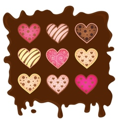 Sweetmeats in form heart on chocolate background vector