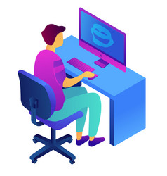 Teenager at computer and cyberbullying isometric vector