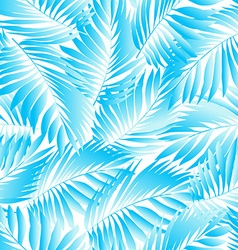 Tropical aqua leaves in a seamless pattern vector