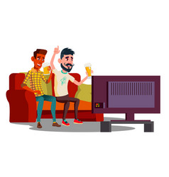 two friends watching football on the couch and vector image