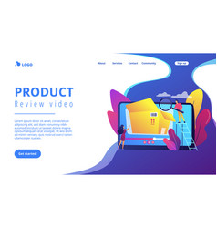 Unboxing video concept landing page vector