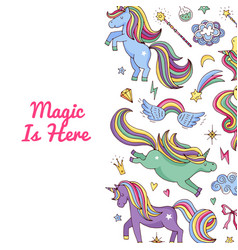 unicorn pattern magic unicorns and stars vector image