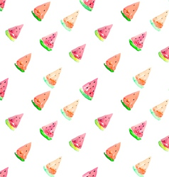Watercolor seamless watermelon pattern vector image