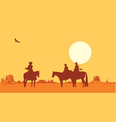 Western landscape with silhouettes armed vector
