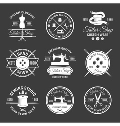 White Tailor Emblem Set vector image