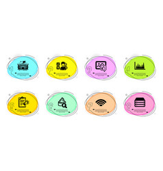Wifi servers and moisturizing cream icons set vector