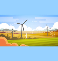 Wind turbine tower in field blue sky alternative vector