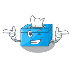 Wink cartoon tissue box in the restaurant vector