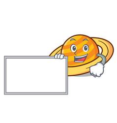 with board planet saturnus character cartoon vector image