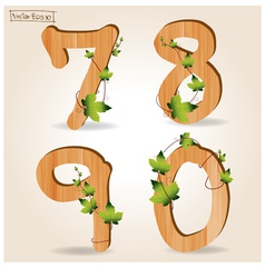 wood alphabet number with branch green leaves vector image vector image