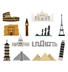World monuments flat icons vector