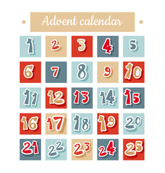 christmas advent calendar in red blue and white vector image