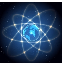 Globe like atom vector image vector image